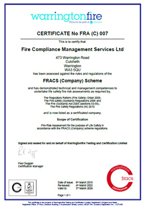 Fire Compliance Management Services FRACS company accreditation